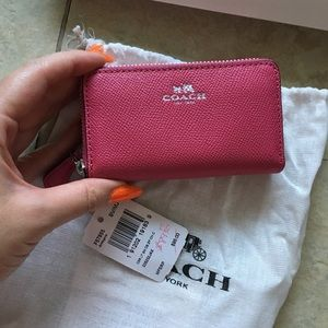 Brand new coach wallet pink double zip small card
